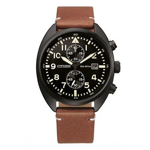 Ρολόι Citizen Platform Pilot με καφέ δερμάτινο λουράκι CA7045-14E
