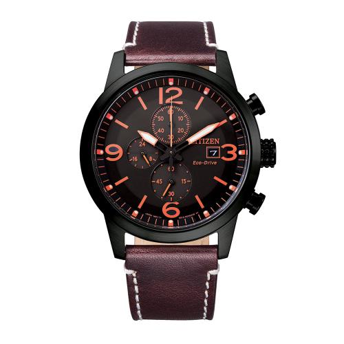 Ρολόι Citizen Platform Sporty Casual Chrono με καφέ λουράκι CA0745-11E